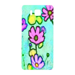 Pink Flowers On Pale Green Pattern Samsung Galaxy Alpha Hardshell Back Case by bywhacky