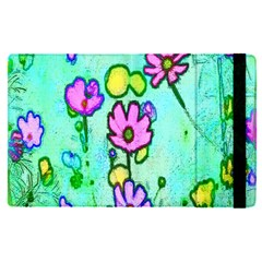 Pink Flowers On Pale Green Pattern Apple Ipad Pro 9 7   Flip Case by bywhacky