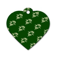 Canal Flowers Cream On Green Bywhacky Dog Tag Heart (two Sides) by bywhacky