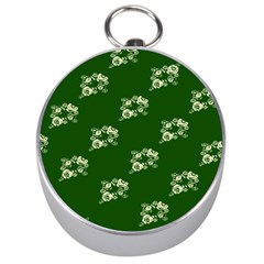 Canal Flowers Cream On Green Bywhacky Silver Compasses by bywhacky