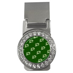 Canal Flowers Cream On Green Bywhacky Money Clips (cz)  by bywhacky