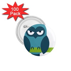 Owl Comic Animal 1 75  Buttons (100 Pack)  by Simbadda