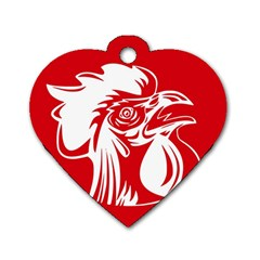 Cock Logo Emblem Symbol France Dog Tag Heart (one Side) by Simbadda