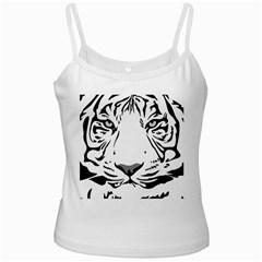 Tiger Pattern Animal Design Flat White Spaghetti Tank