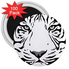 Tiger Pattern Animal Design Flat 3  Magnets (100 Pack) by Simbadda