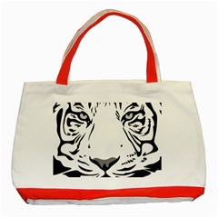 Tiger Pattern Animal Design Flat Classic Tote Bag (red)