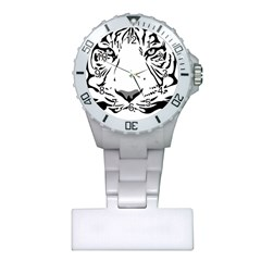 Tiger Pattern Animal Design Flat Plastic Nurses Watch by Simbadda