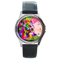 Animal Colorful Decoration Lion Round Metal Watch