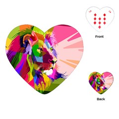 Animal Colorful Decoration Lion Playing Cards (heart)  by Simbadda