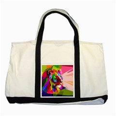 Animal Colorful Decoration Lion Two Tone Tote Bag by Simbadda