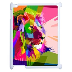 Animal Colorful Decoration Lion Apple Ipad 2 Case (white) by Simbadda