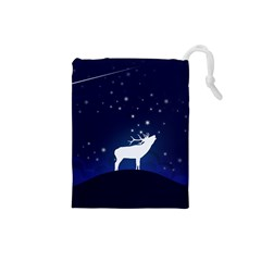 Design Painting Sky Moon Nature Drawstring Pouches (small)  by Simbadda