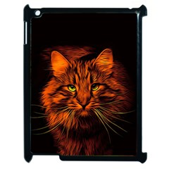 Cat Digiart Artistically Cute Apple Ipad 2 Case (black) by Simbadda