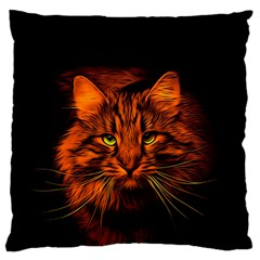 Cat Digiart Artistically Cute Standard Flano Cushion Case (one Side) by Simbadda