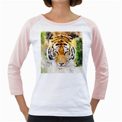 Tiger Watercolor Colorful Animal Girly Raglans