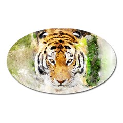 Tiger Watercolor Colorful Animal Oval Magnet by Simbadda