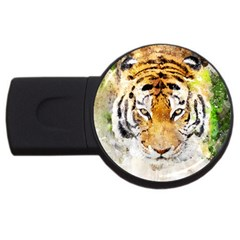 Tiger Watercolor Colorful Animal Usb Flash Drive Round (2 Gb) by Simbadda