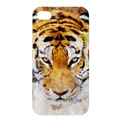 Tiger Watercolor Colorful Animal Apple Iphone 4/4s Premium Hardshell Case by Simbadda