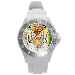 Tiger Watercolor Colorful Animal Round Plastic Sport Watch (l) by Simbadda