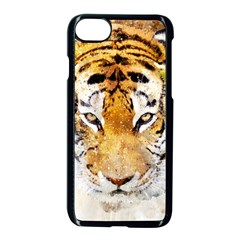 Tiger Watercolor Colorful Animal Apple Iphone 7 Seamless Case (black)