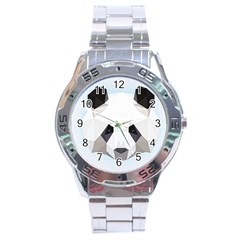 Background Show Graphic Art Panda Stainless Steel Analogue Watch