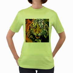 Tiger Animal Teeth Nature Design Women s Green T Shirt