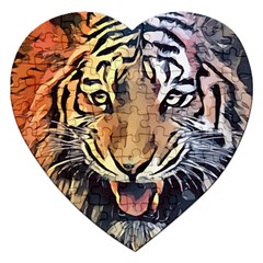 Tiger Animal Teeth Nature Design Jigsaw Puzzle (heart)