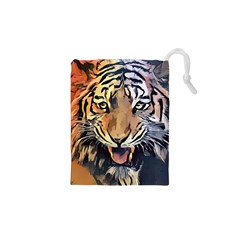 Tiger Animal Teeth Nature Design Drawstring Pouches (xs)
