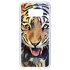 Tiger Animal Teeth Nature Design Samsung Galaxy S8 White Seamless Case