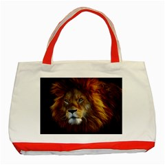 Fractalius Big Cat Animal Classic Tote Bag (red) by Simbadda