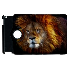 Fractalius Big Cat Animal Apple Ipad 3/4 Flip 360 Case by Simbadda