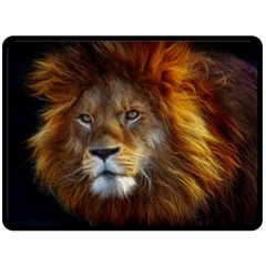 Fractalius Big Cat Animal Double Sided Fleece Blanket (large)