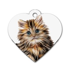 Kitten Mammal Animal Young Cat Dog Tag Heart (two Sides) by Simbadda