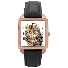 Kitten Mammal Animal Young Cat Rose Gold Leather Watch