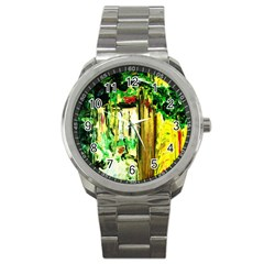 Old Tree And House With An Arch 4 Sport Metal Watch by bestdesignintheworld