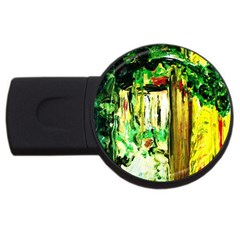 Old Tree And House With An Arch 4 Usb Flash Drive Round (4 Gb) by bestdesignintheworld