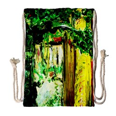 Old Tree And House With An Arch 4 Drawstring Bag (large) by bestdesignintheworld
