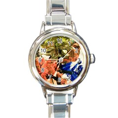 Pagoda And Calligraphy Round Italian Charm Watch by bestdesignintheworld