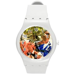 Pagoda And Calligraphy Round Plastic Sport Watch (m) by bestdesignintheworld
