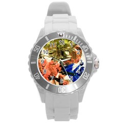 Pagoda And Calligraphy Round Plastic Sport Watch (l) by bestdesignintheworld