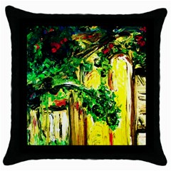 Old Tree And House With An Arch 2 Throw Pillow Case (black) by bestdesignintheworld