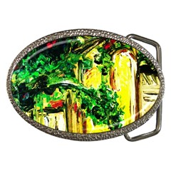 Old Tree And House With An Arch 2 Belt Buckles by bestdesignintheworld