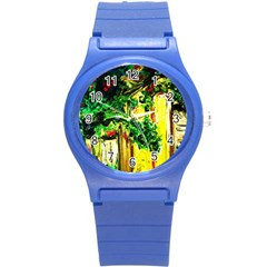 Old Tree And House With An Arch 2 Round Plastic Sport Watch (s) by bestdesignintheworld