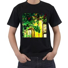 Old Tree And House With An Arch 2 Men s T Shirt (black) (two Sided)