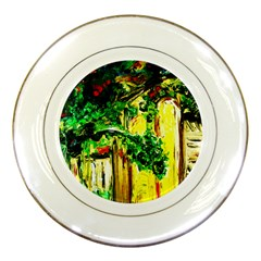 Old Tree And House With An Arch 2 Porcelain Plates by bestdesignintheworld