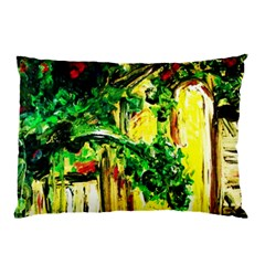 Old Tree And House With An Arch 2 Pillow Case by bestdesignintheworld