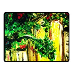 Old Tree And House With An Arch 2 Fleece Blanket (small) by bestdesignintheworld