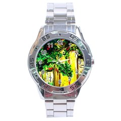 Old Tree And House With An Arch 2 Stainless Steel Analogue Watch by bestdesignintheworld