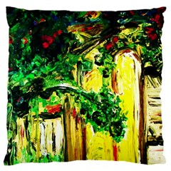 Old Tree And House With An Arch 2 Large Flano Cushion Case (one Side) by bestdesignintheworld