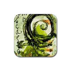 Pagoda Calligraphy 2 Rubber Coaster (square)  by bestdesignintheworld